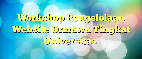 Workshop Pengelolaan Website Ormawa Tingkat Universitas