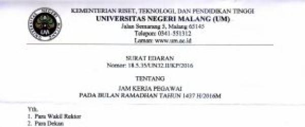 Jam Kerja Pegawai Pada Bulan Ramadhan Tahun 1437 H/2016