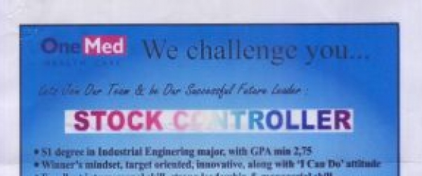 PT Jayamas Medica Industri perusahaan alat kesehatan membuka Lowongan kerja untuk posisi Stock Controller di bagian Gudang / War