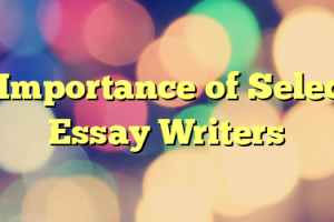The Importance of Selecting Essay Writers