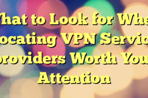 What to Look for When Locating VPN Service providers Worth Your Attention